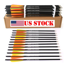Hunting Crossbow Archery 16/20 Inch Orange yellow feather  Spine 400 Carbon Arrow Used For Bow Shooting