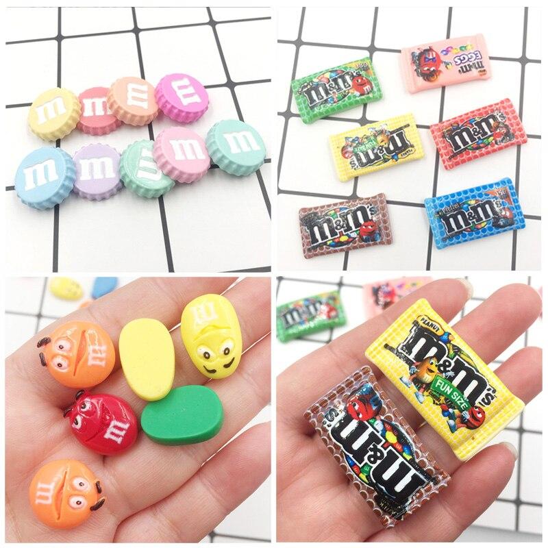 20Pcs Kawaii Cartoon M Bean Candy Resin 3D Caps Flat Back Cabochons Scrapbooking DIY Craft Embellishment Fit Phone Deco