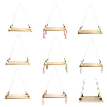 Wooden Board Storage Shelf Rack Photo Props Kid Room Home Decoration Bedroom Wall Hanging Ornaments Tassel Beads Pendant(China)