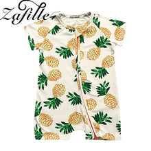 ZAFILLE Pure Cotton Baby Clothes Short Sleeve Girl Rompers Newborn Infant Summer Girls Clothing Printed Boy