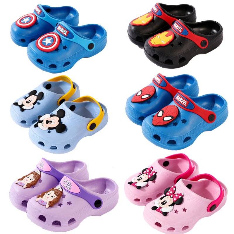 Kids Slippers For Boys Girls Minnie Sophia Shoes Toddler  Baby Anti-slip Spiderman Beach Slippers Water Shoes Children's Sandals