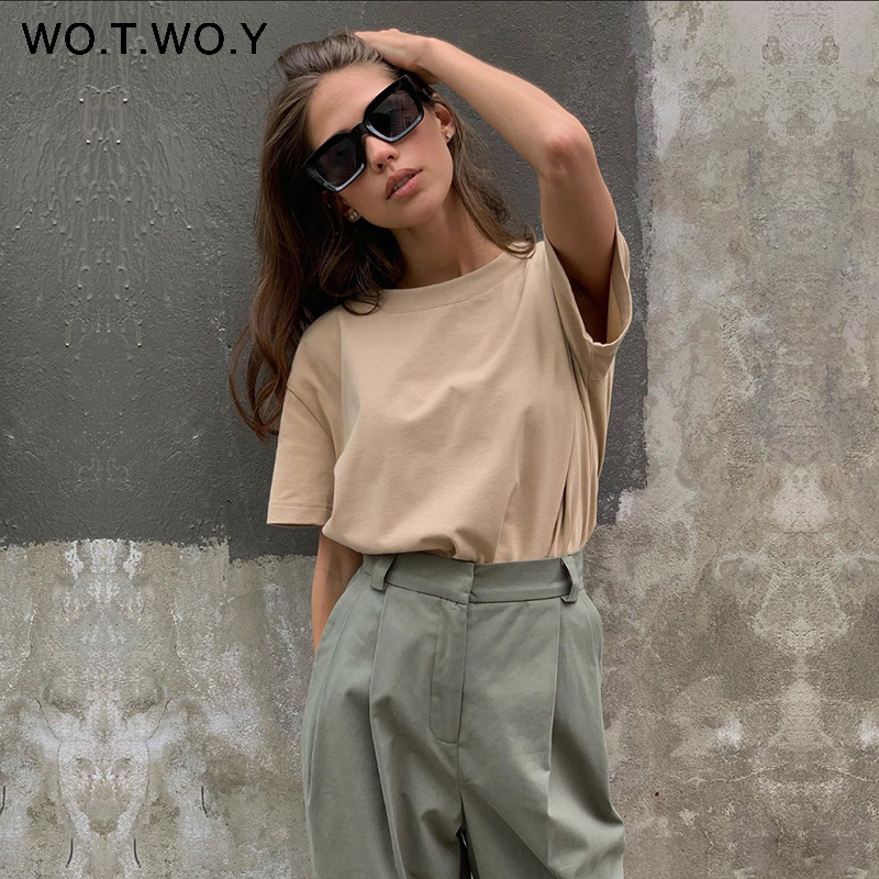 WOTWOY Summer Knitted Basic Solid T-shirt Women Casual Cotton Short Sleeve Tee-Shirts Female Tops Women 2020 New Fashion S-XL 1