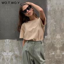 WOTWOY letnie dziergany w stylu Basic solidna koszulka damska Casual bawełniane koszulki z krótkim rękawem bluzki damskie damskie 2020 New Fashion S-XL tanie tanio WO T WO Y COTTON spandex Topy Tees REGULAR Suknem Stałe WT20022 WOMEN NONE Na co dzień Osób w wieku 18-35 lat O-neck