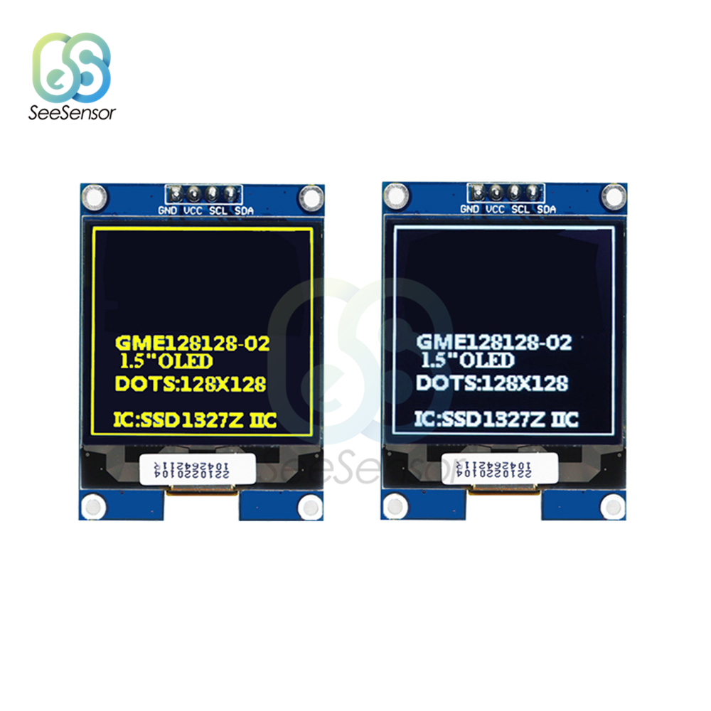 1.5 Inch 128x128 <font><b>OLED</b></font> Shield Screen Module For Raspberry Pi For Arduino <font><b>SSD1327</b></font> IIC Serial White/Yellow <font><b>OLED</b></font> Display Module image