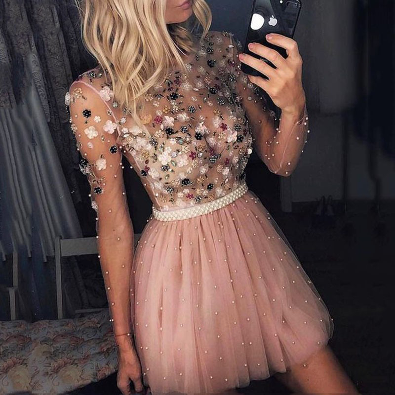 O-Neck Blush Pink Party Prom Gown Beading Tulle Full Sleeves A-line Short Evening Dress Appliques Floral Party Crystals OL103452
