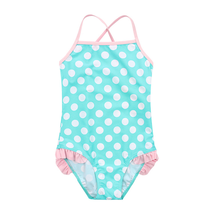 Girl'S Swimsuit Bright Green Dotted Girls One-piece CHILDREN'S Swimwear Beach One-piece Swimsuit For Children