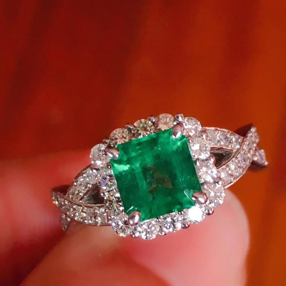 100% Natural  1.2ct Emerald Gemstone 0.58ctw Diamond Female's Wedding Rings For Women Ring Pure 18K White Gold
