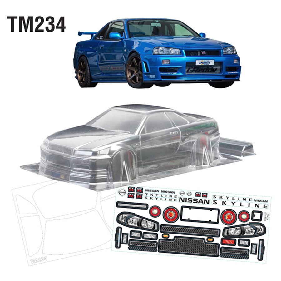 Team C GTR R34 Clear PC Body Shell With Sticker For Rc Drift Car Flat Sport On Road Electric Toys Model Cars