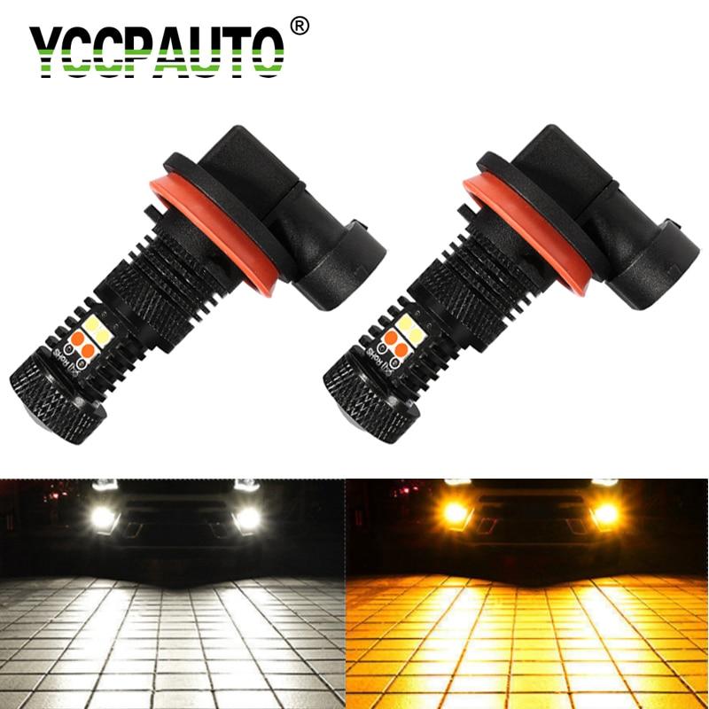YCCPAUTO 2Pcs H8 H11 LED 9005/HB3 9006/HB4 Dual Color Car Fog Lights White+Amber Bulbs 3030 16-SMD 1600Lm Auto DRL Fog Lamp 12V