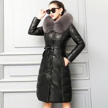 KMETRAM куртка из натуральной кожи с воротником из лисьего меха, женская одежда, зимняя женская куртка из овчины, пальто для женщин размера плюс