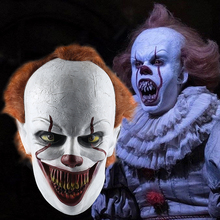 купить 2019 Joker Pennywise Mask Stephen King It Chapter Two 2 Horror Cosplay Latex Masks Helmet Clown Halloween Party Costume Props дешево