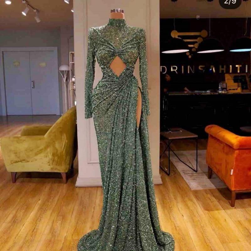 Sequin Side Split   Prom     Dresses   Sexy High Neck Long Sleeves Mermaid Evening   Dress   Pleats robe de soire Dubai African Party Wear