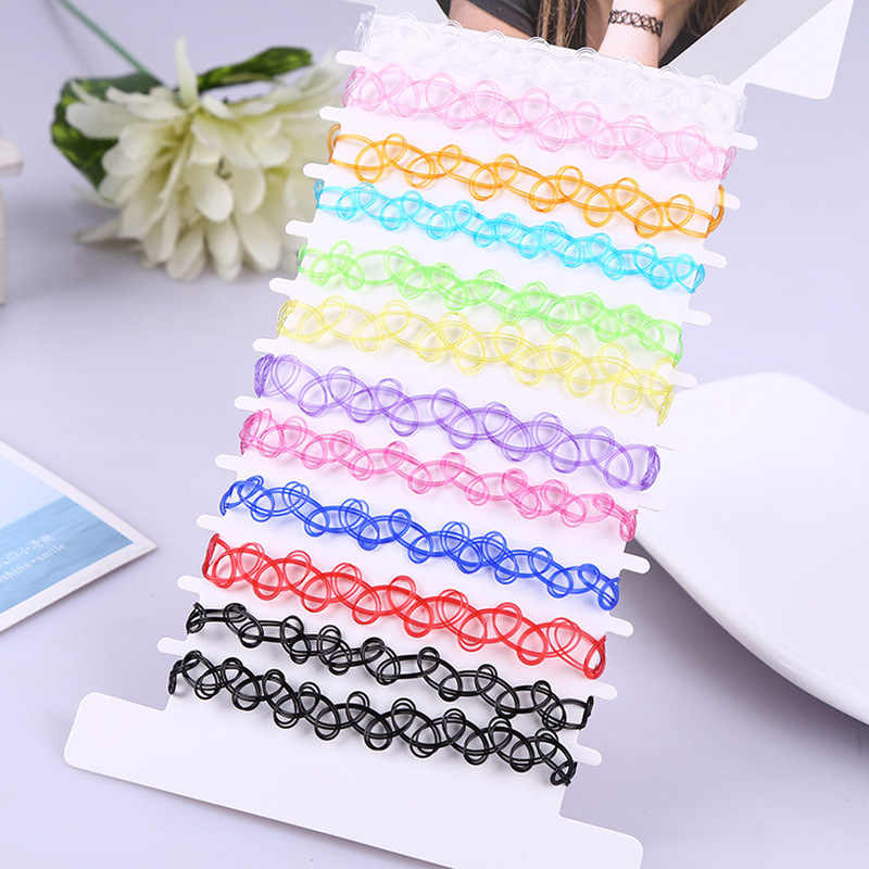 12 Pcs/pack Fashion Tattoo Rainbow Chokers Necklace Vintage Punk Elastic Women Jewelry