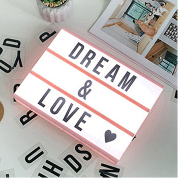 DIY Black Letters Cards AA Battery Nightlight Cinema Lightbox A6 Size LED Combination Night Light Box Lamp For Bedroom Gift qyjsd a4 size led combination creative night light box lamp diy black letters cards usb port powered cinema light box