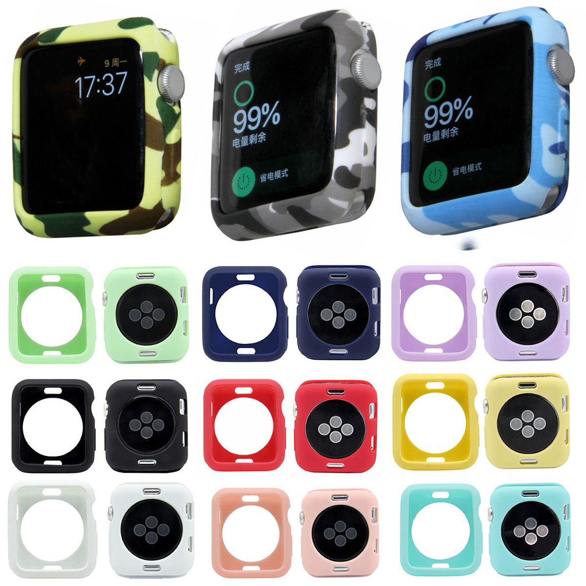 Camouflage Soft TPU Watch Case for Apple Cover 42mm 38mm Series 1 2 3 Protective Silicone iWatch Shell