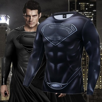 New Superhero Muscle Superman Cosplay Costume Premium 3D Printed Compression T-shirt Finess Gym Quick-Drying Tight Tops - discount item  40% OFF Tops & Tees