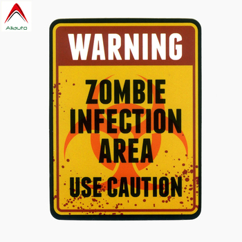 Aliauto Warning Sign Car Sticker Zombie Infection Area Use Vinyl Decal Cover Scratches for Hyundai I40 Bmw E92 Passat,15cm*11cm image