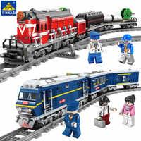 Gran tren de carga de tren diésel de potencia con pistas modelo LegoINGLs juegos de Bloques de construcción de ciudad Technic niños ladrillos Juguetes