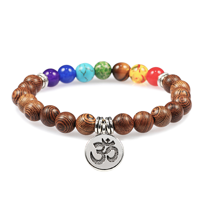 Hot Men Bracelet Wooden Beads Cross 7 Chakra Healing Balance Onyx Bracelets&Bangles Owl Prayer Reiki Buddha Women Jewelry Homme