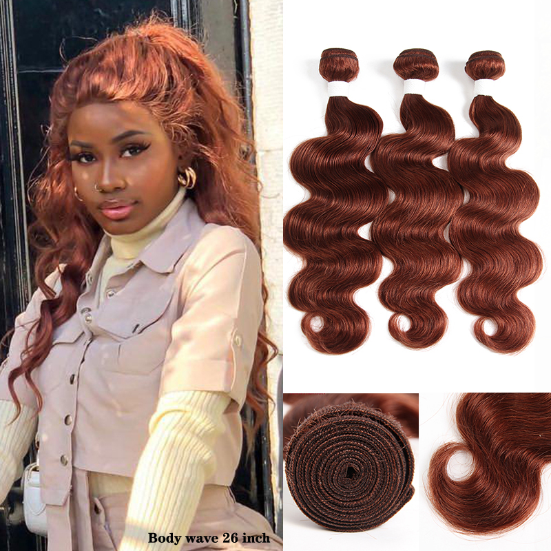 Brown Auburn 33# Brazilian Body Wave Human Hair Bundles KEMY HAIR Pre-Colored Human Hair Weave Bundles Non-Remy Hair Extension
