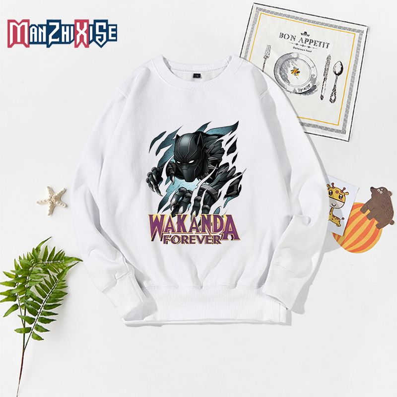 Autumn New Kids Boys Avengers Black Panther Printing Tops Long Sleeve Sweatshirts For Childrens Clothes Sweatshirt Pullover