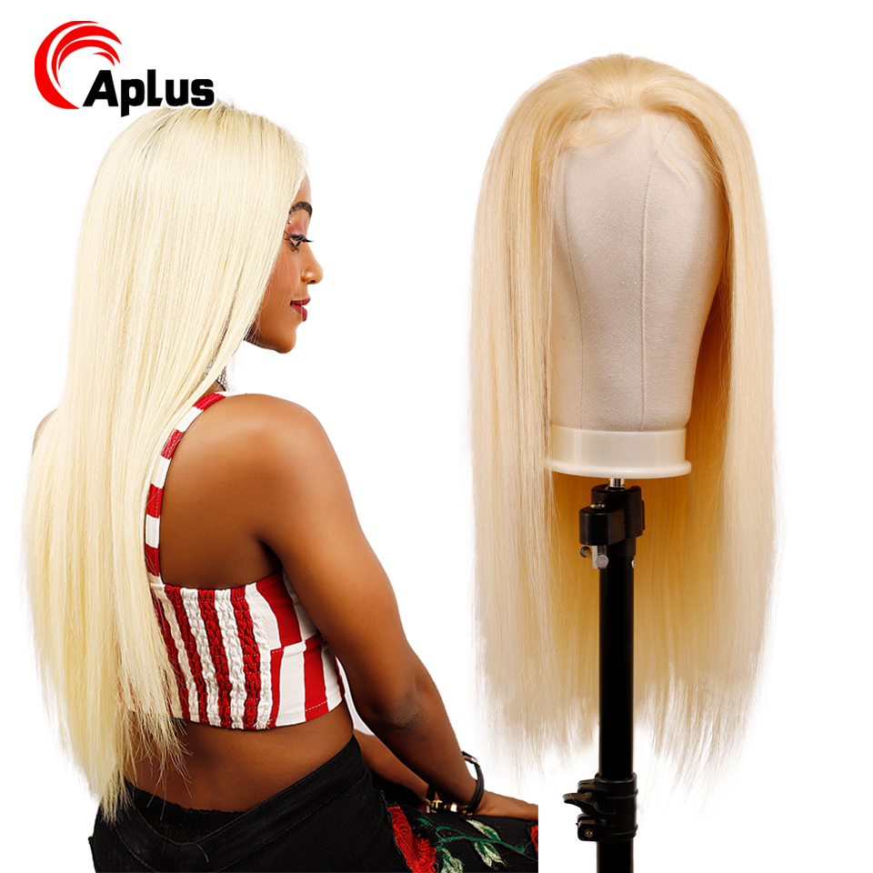 Transparent 613 Blond Lace Frontal Wigs With Baby Hair 13*4 Blonde Wig Pre Plucked Bleached Knots Wigs Peruvian Remy Human Hair