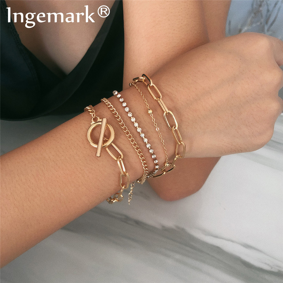 Ingemark Boho Crystal Charm Bracelets Set Women/Men Bangle Gold Color Gothic India Snake Chunky Chain Bracelet Couple Bracelet