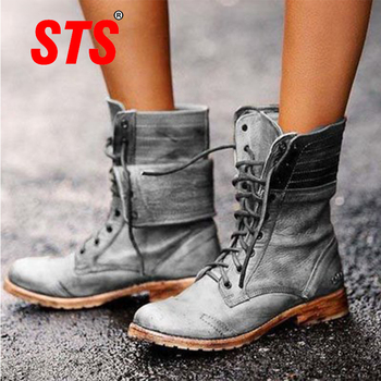 STS Women's Casual Martin Boots Fashion Shoes Women Boot Flats Bottom Female Ankle Footwear Female Plus Size Outdoor Lace-Up цена 2017