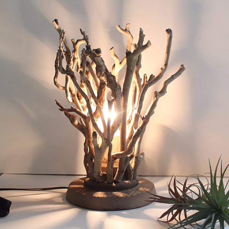 Оригинальные деревянные настольные лампы ручной работы, прикроватная тумбочка для спальни, креативный ресторан, чайный домик, деревенский