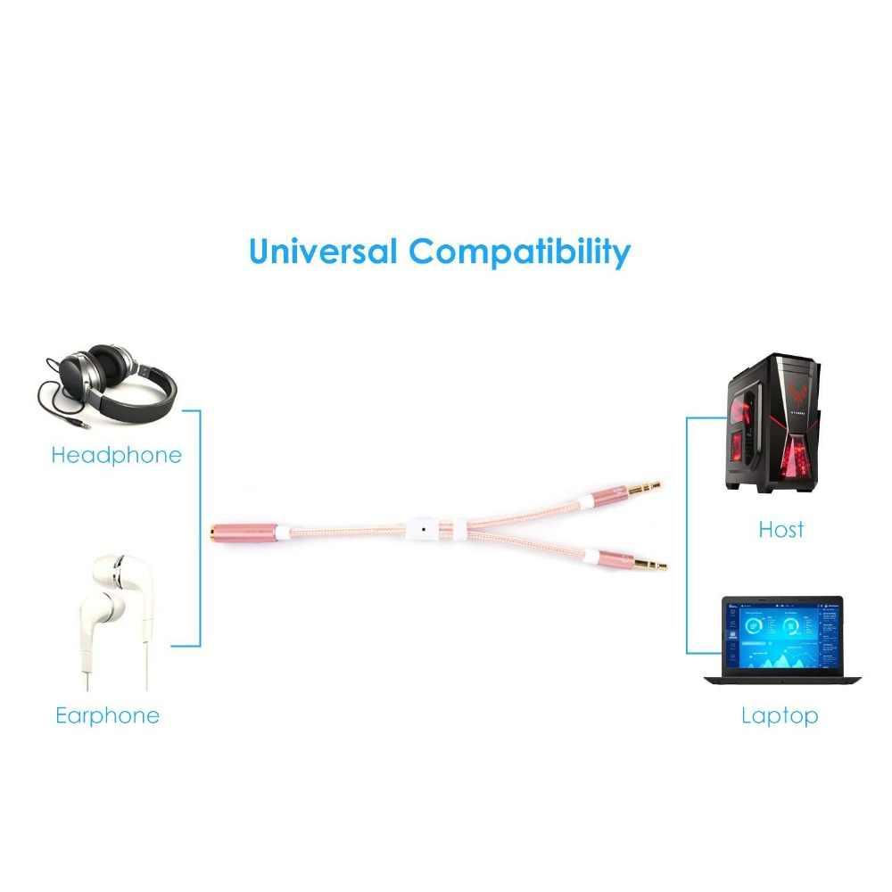 3.5mm żeńskie do 2 podwójne 3.5mm męski słuchawkowy Mic rozdzielacz Audio Y z 3.5mm gniazdo Audio CTIA do OMTP Adapter czarny/Rose 0.2 M