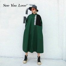 See you love Women Green Lace Striped Split Big Size ShirtDress New Lapel Long Sleeve Loose Fit Fashion Tide Spring Autumn 2019