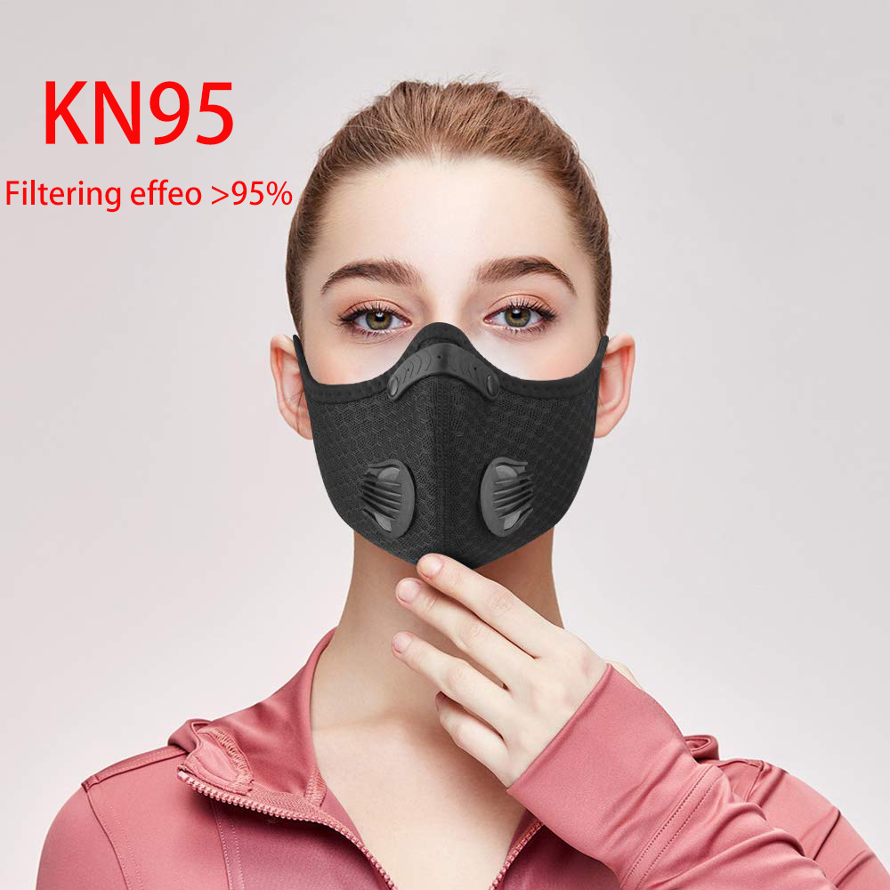 KN95 PM2.5 Dust Mask Activated Carbon Respirators With Filter Anti-Pollution Cycling Sport Bicycle MTB Bike Face Mask