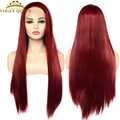 Vogue Queen Fashion Red Long Straight Synthetic Lace Front Wig Cosplay Wig Heat Resistant Fiber For Women