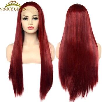 Модный красный длинный прямой синтетический парик Vogue Queen, парик для косплея, Термостойкое волокно для женщин