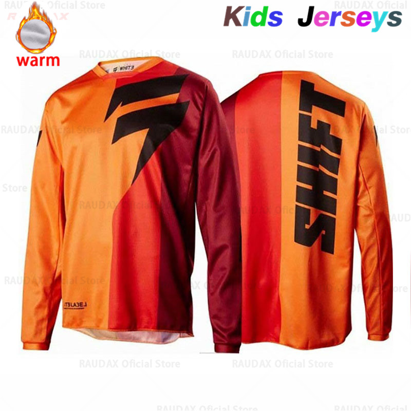 2019 Kids Motorcycle Fleece Jersey Maillot Ciclismo Long Sleeve Motocross Mtb Jersey Bicycle Spexcel DH Mx Moto Downhill Jersey