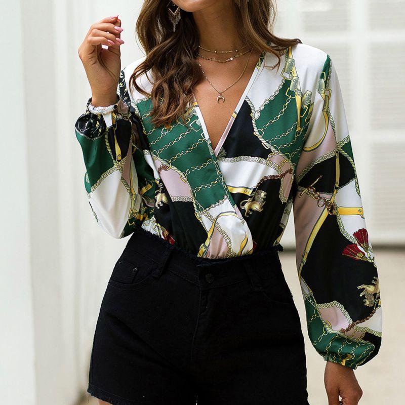 Retro Printed Bodysuits Women Spring Summer New Lantern Long Sleeve Top Fashion Loose V-neck Patchwork Rompers Bodysuit  K