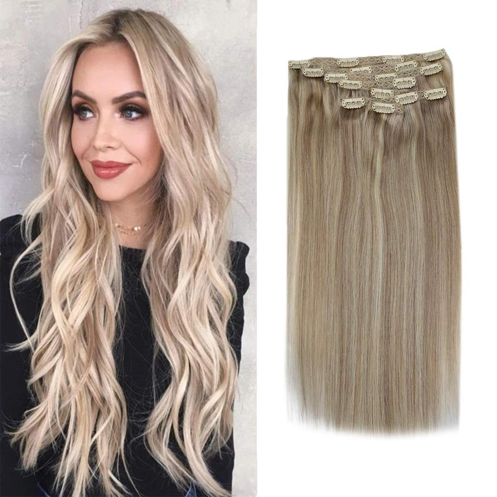 VeSunny Double Weft Clip In Hair Extensions Real Human Hair 7pcs Clip On Extensions Highlighted Ash Blonde Mix Blonde #18/24