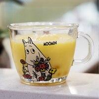 230 мл креативные милые свадебные стеклянные кружки с изображением Муми-троллей с крышкой для воды, молока, чая, стеклянная чашка, кофейная кр...