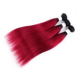 Image 3 - Ombre Red Brazilian Straight Human Hair Weave Bundles 1B 30 Brown 8 26 Inch Hair Bundles Non Remy Hair Extension 1/3/4 PCS KEMY