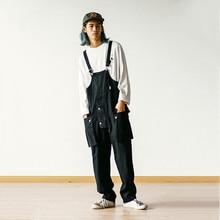 2021 Men's Multi-Pocket Bib Overalls Hip Hop Streetwear Cargo Work Pants Jumpsuits Casual Loose Pants For Men Loose Pants Men