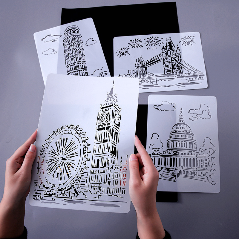 A4 Architecture Home Decoration Hollow Scratch Painting Template Drawing Template Educational Toys Scribble Diary Template Tool