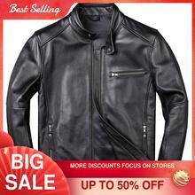 2021 Black Motorcycle Style Genuine Leather Jacket Men Plus Size 3XL Real Natural Cowhide Slim Fit Spring Thin Biker Coat