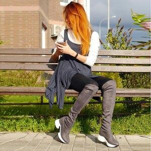 Image 4 - QUTAA 2020 تمتد الأقمشة فوق الركبة أحذية الارتفاع زيادة جولة تو أحذية النساء الخريف الشتاء أحذية طويلة غير رسمية Size34 43
