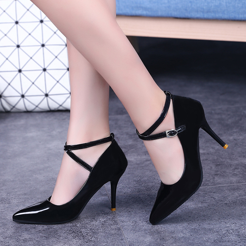 High Heels Leather Patent Shoes Women