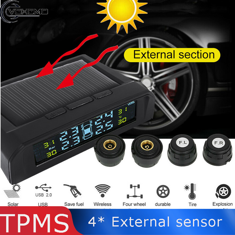 Système universel de surveillance de la pression des pneus capteur externe systèmes d'alarme de sécurité numérique affichage USB LCD alimentation solaire Auto TPMS