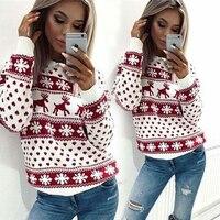 Осенне-зимний женский Рождественский пуловер Повседневный длинный рукав с принтом оленя вязанный женский свитер пуловер Джемпер уродлива...