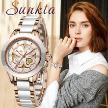 SUNKTA Quartz Women Watches New Fashion Waterproof Watches Women Ceramic Bracelet Wristband Watch Girl Clock Relogio Feminino