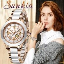 SUNKTA kwarcowy kobiety zegarki nowe mody zegarki wodoodporne kobiety bransoletka ceramiczna zegarek na rękę dziewczyna zegar Relogio Feminino