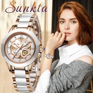 Image 1 - Часы наручные SUNKTA женские кварцевые, модные водонепроницаемые с керамическим браслетом