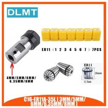 7pcs High Carbon Steel ER11 Spring Collet 1/2/3/4/5/6/7mm with ER11A Extension Rod Motor Shaft HolderInner 4MM 5MM 6MM 6.35 8MM